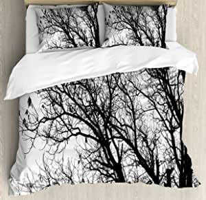Ambesonne Nature Duvet Cover Set Leafless Autumn Fall Tree Branches Tops Oak Forest Woodland Season Eco Theme Decorative 3 Piece Bedding Set With 2 Pillow Shams King Size Black White Home Kitchen Amazon Com