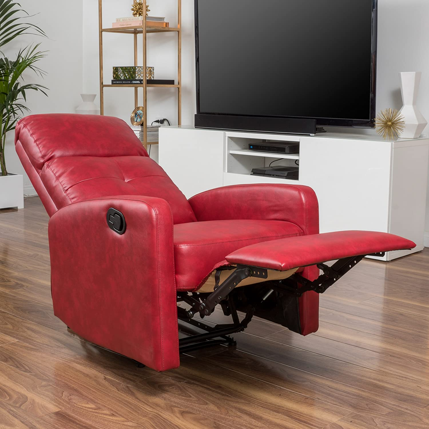 & Amazon.com: Teyana Red Leather Recliner Club Chair: Kitchen u0026 Dining islam-shia.org
