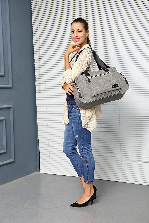 Colorland New Design Tote Shoulder Bag Queena Canvas Luxury Baby Changing Bag (Grey)