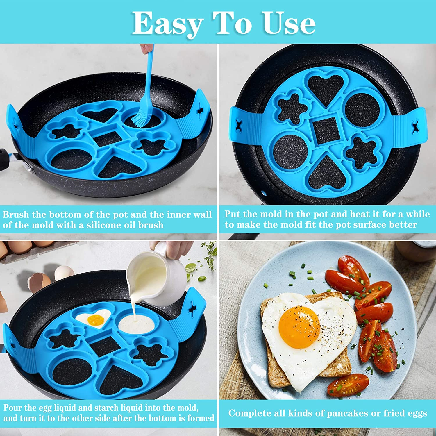 green New Upgrade 7 Cavity Nonstick Pancake Mold Maker,Silicone Omelette Mold With 4 Shapes/& A Silicone Oil Brush Tool Home Kitchen