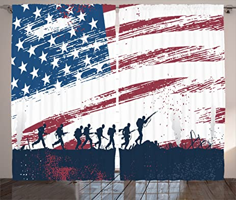 Ambesonne Grunge Home Decor Collection, Silhouette of Soldiers Fighting at War with American Flag in