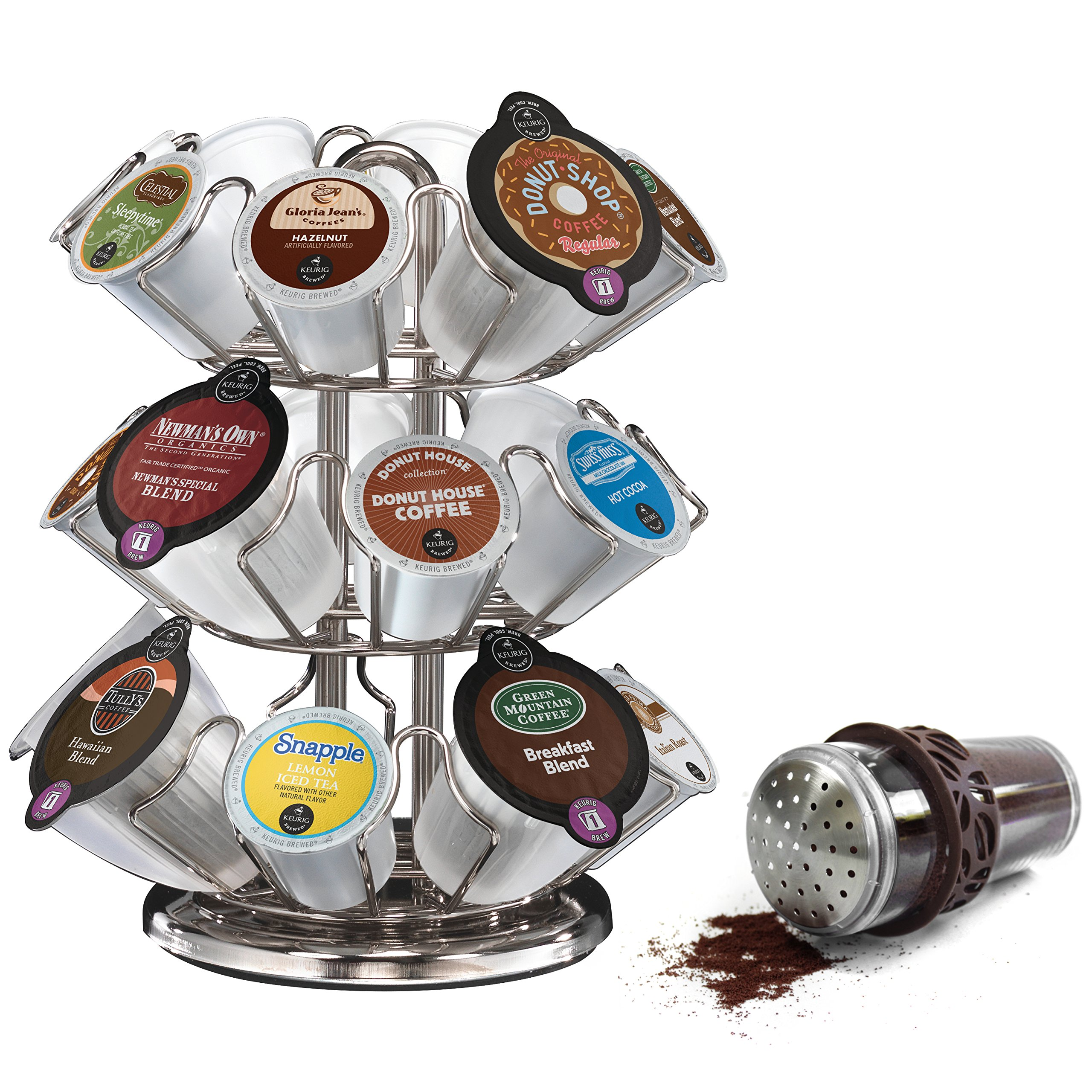Keurig 2.0 Silver Finish 24 Pod Carousel with Brown 8 Ounce Cocoa Powder Shaker by Keurig