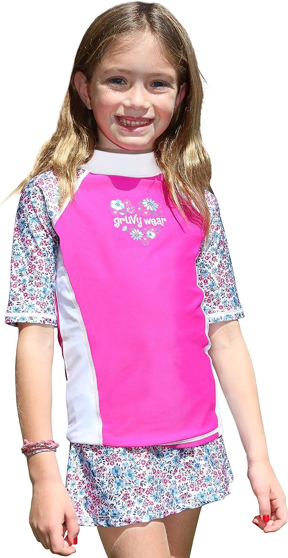 grUVywear Girls Rash Guard Sun Protective UV Swim Shirt /& Bikini Swim Skirt Set