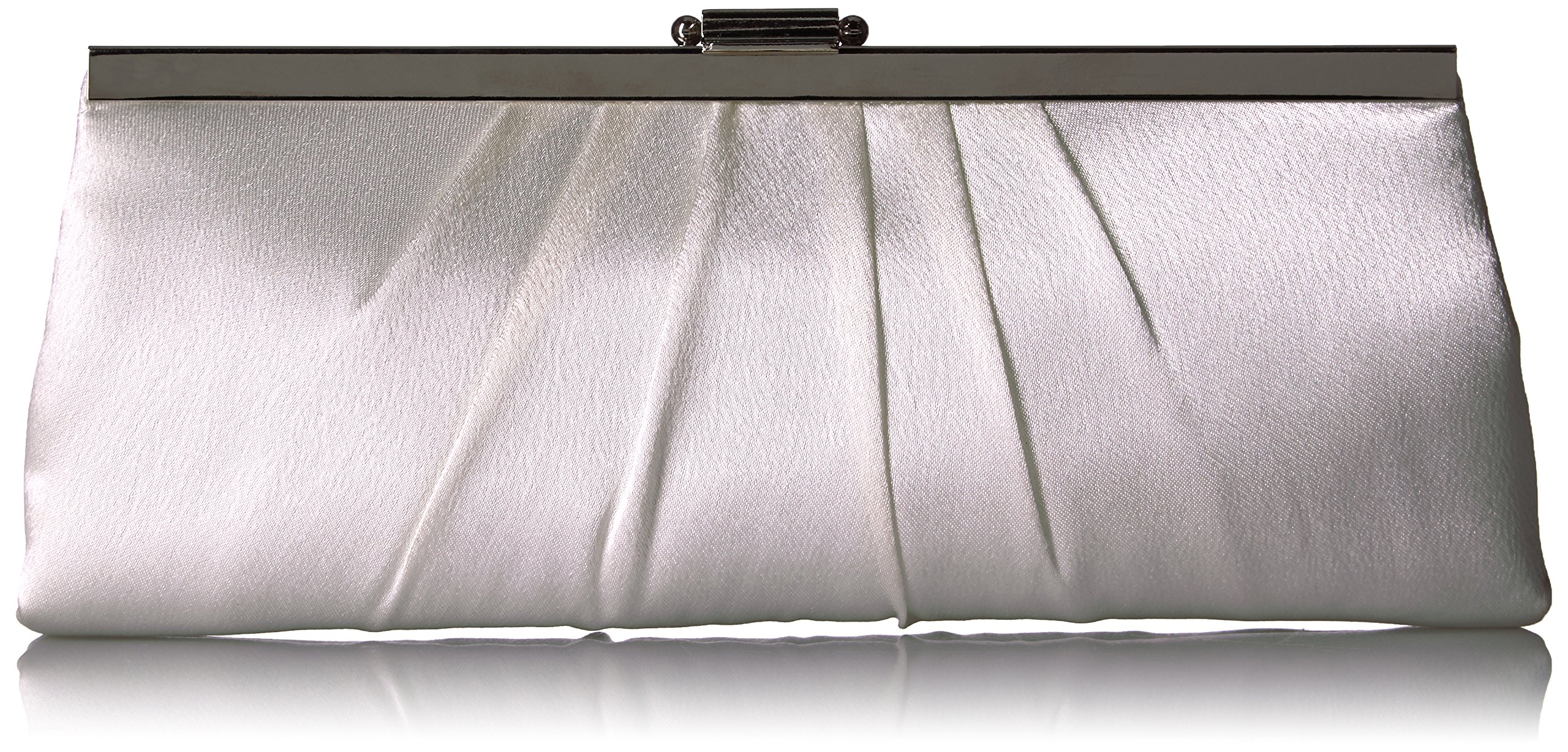 Blaire Satin Framed Clutch Evening Bag, Ivory, One Size