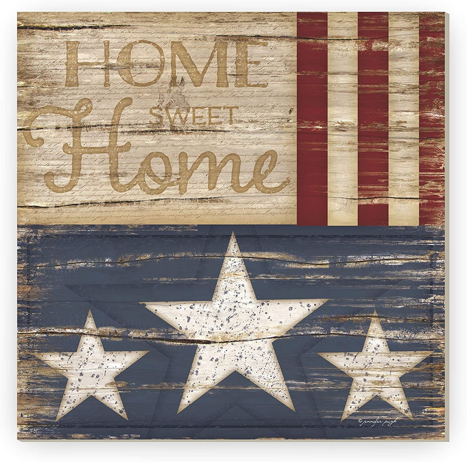 Home Sweet Home Patriotic Rustic Framed Wood Farmhouse Wall Sign 12x12 (Unframed)