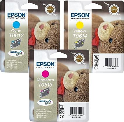 Epson Multipack Durabrite Ultra Original Tintenpatronen T0612 Cyan T0613 Magenta T0614 Gelb 3 Stück Bürobedarf Schreibwaren