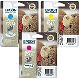Color Epson Multipack cartuchos de tinta (3tintas DURABrite Ultra Original–T0612Cian, T0613magenta y T0614amarillo)