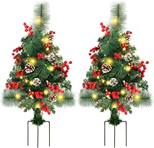 FORUP Set of 2 30 Inch Pre-Lit Pathway Christmas Trees, Outdoor Christmas Tree Decorations for Porch, Driveway, Yard, Garden, with 60 LED Lights, Red Berries, Pine Cones, Red Ball Ornaments