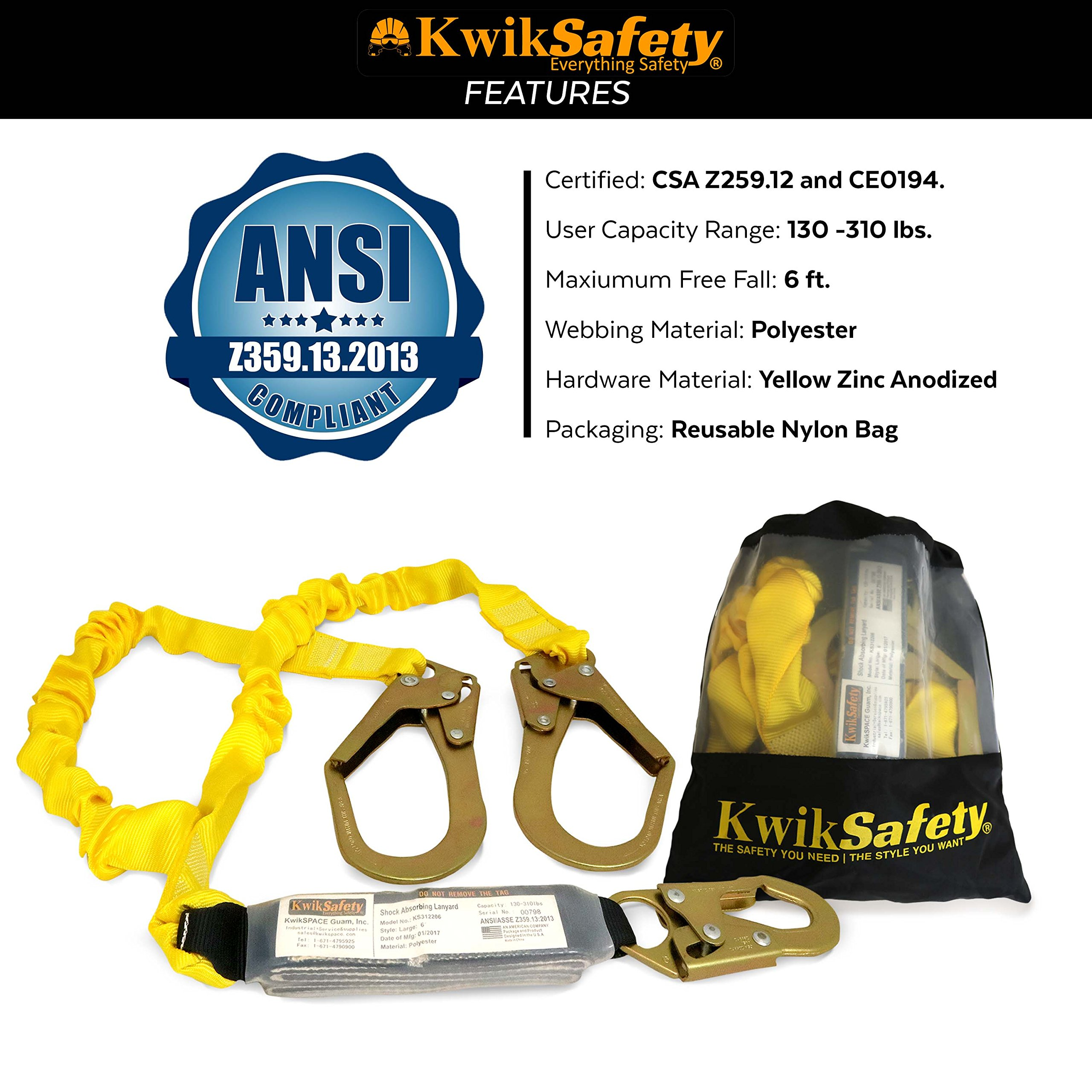 KwikSafety PYTHON   Double Leg 6ft Tubular Stretch Safety Lanyard   OSHA Approved ANSI Compliant Fall Protection   EXTERNAL Shock Absorber   Construction Arborist Roofing   Snap & Rebar Hook Connector by KwikSafety (Image #7)