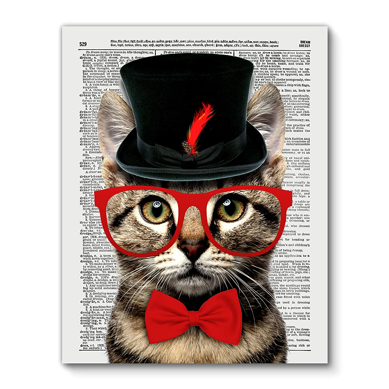 Mr Catsanova Cat, Vintage Dictionary Art Print Reproduction Contemporary Wall Art For Home Decor, Modern Boho Art Print Poster, Country Farmhouse Wall Decor 11x14 Inches, Unframed