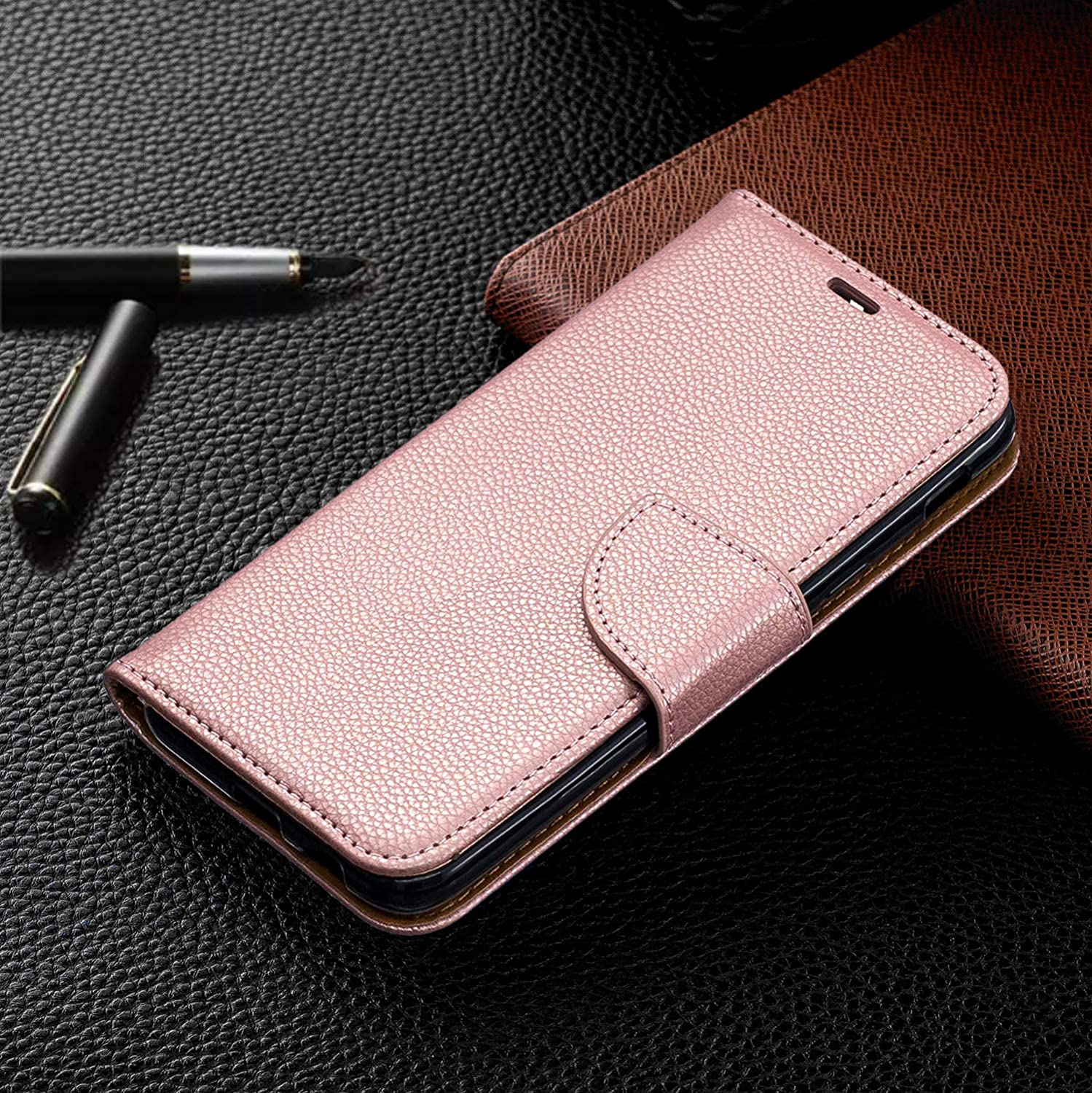 Luxury PU Leather Wallet Case for Samsung Galaxy A6 2018,Flip Folio Case for Samsung Galaxy A6 2018,Moiky Rose Gold Multifunctional Magnetic Kickstand Case With Wrist Strap and ID/&Credit Cards Slots