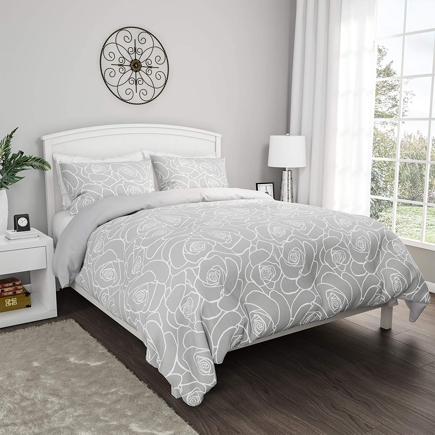 "Lavish Home Collection 3-Piece Comforter and Sham Set – ""Bed of Roses"" Reversible, Hypoallergenic and Soft Microfiber Floral Down Alternative Bedding (King)"