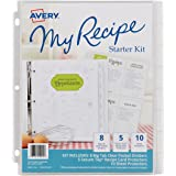 Avery My Recipe Binder Starter Kit, 1 Set of 8 Tab Dividers, 5 Each of 2 Pocket Recipe Card Protectors, 10 Sheet Protectors (19915)