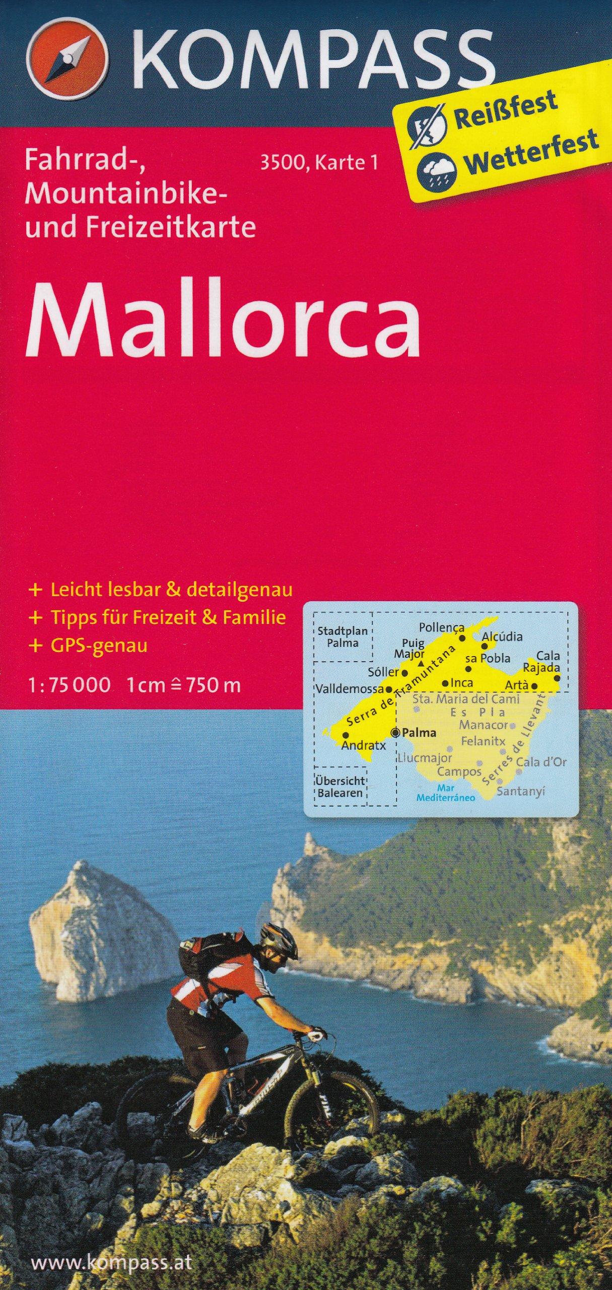 Mallorca 1:75.000 mapa ciclismo carretera y montaña juego de ...