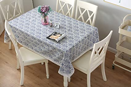 Amazon UK & Furnily Tablecloth Cotton Linen Tablecloth Macrame Lace Table Cloths Linen Rectangle Square Table Covers (140 cm x 140 cm)