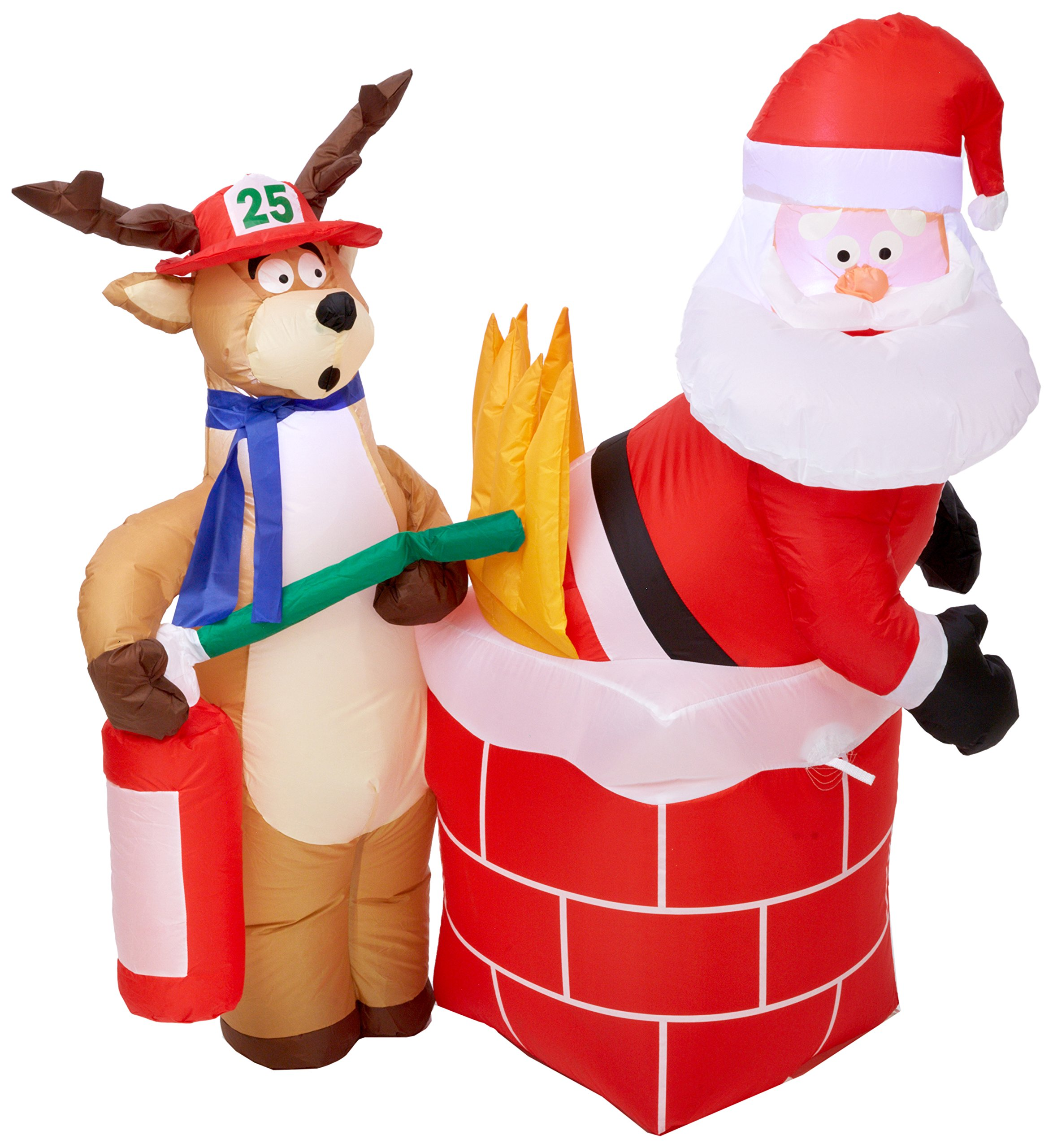 Gemmy Inflatable Holiday G08 87191 Air Blown Santa on Fire Scene Decor by Gemmy Inflateables  Holiday