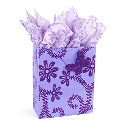 Amazon.com Hallmark Large Gift Bag with Tissue Paper (Lavender Butterfly) Kitchen u0026 Dining  sc 1 st  Amazon.com & Amazon.com: Hallmark Large Gift Bag with Tissue Paper (Lavender ...