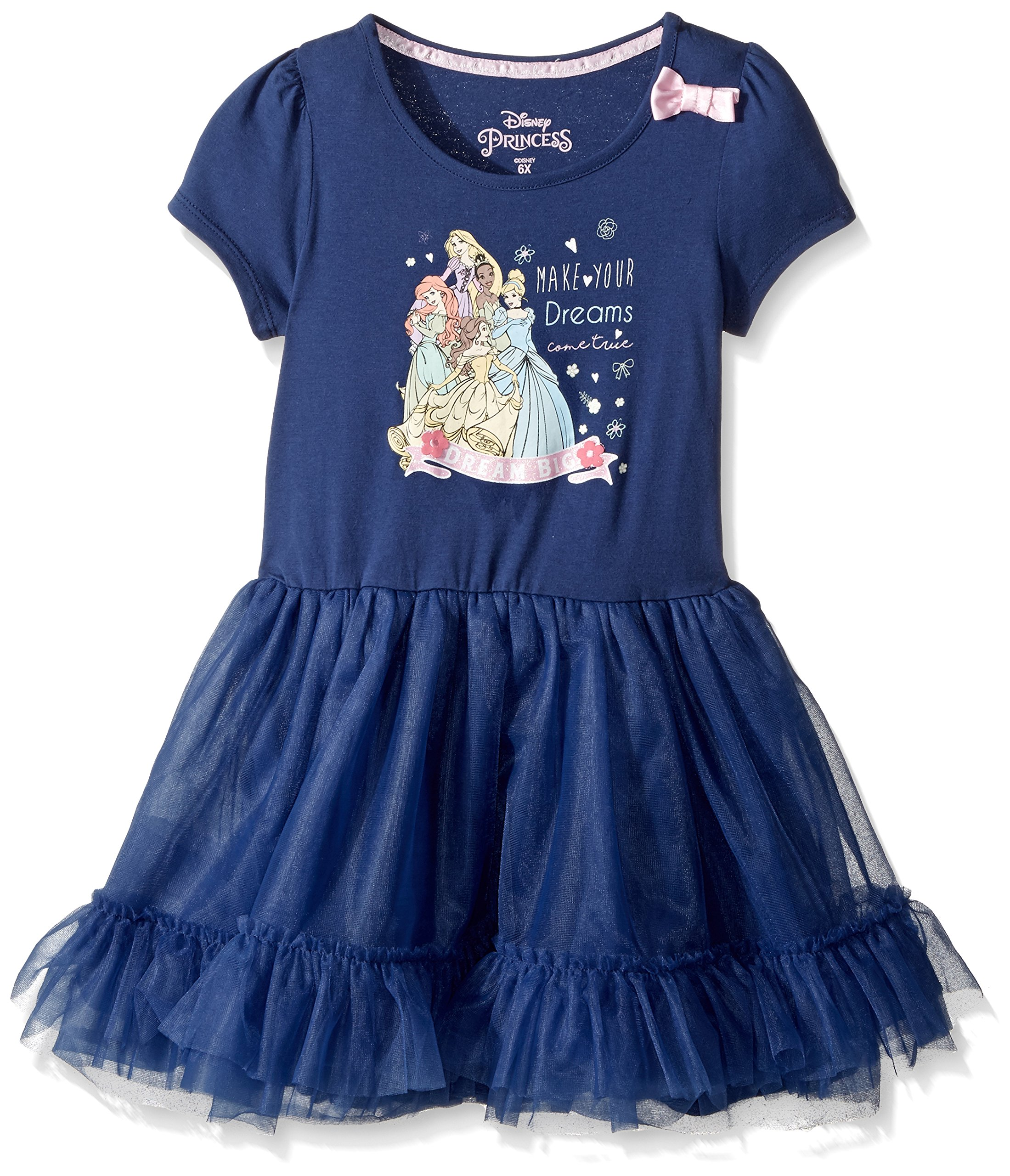 Disney Toddler Girls' Princess Ruffle Dress, Navy, 3T
