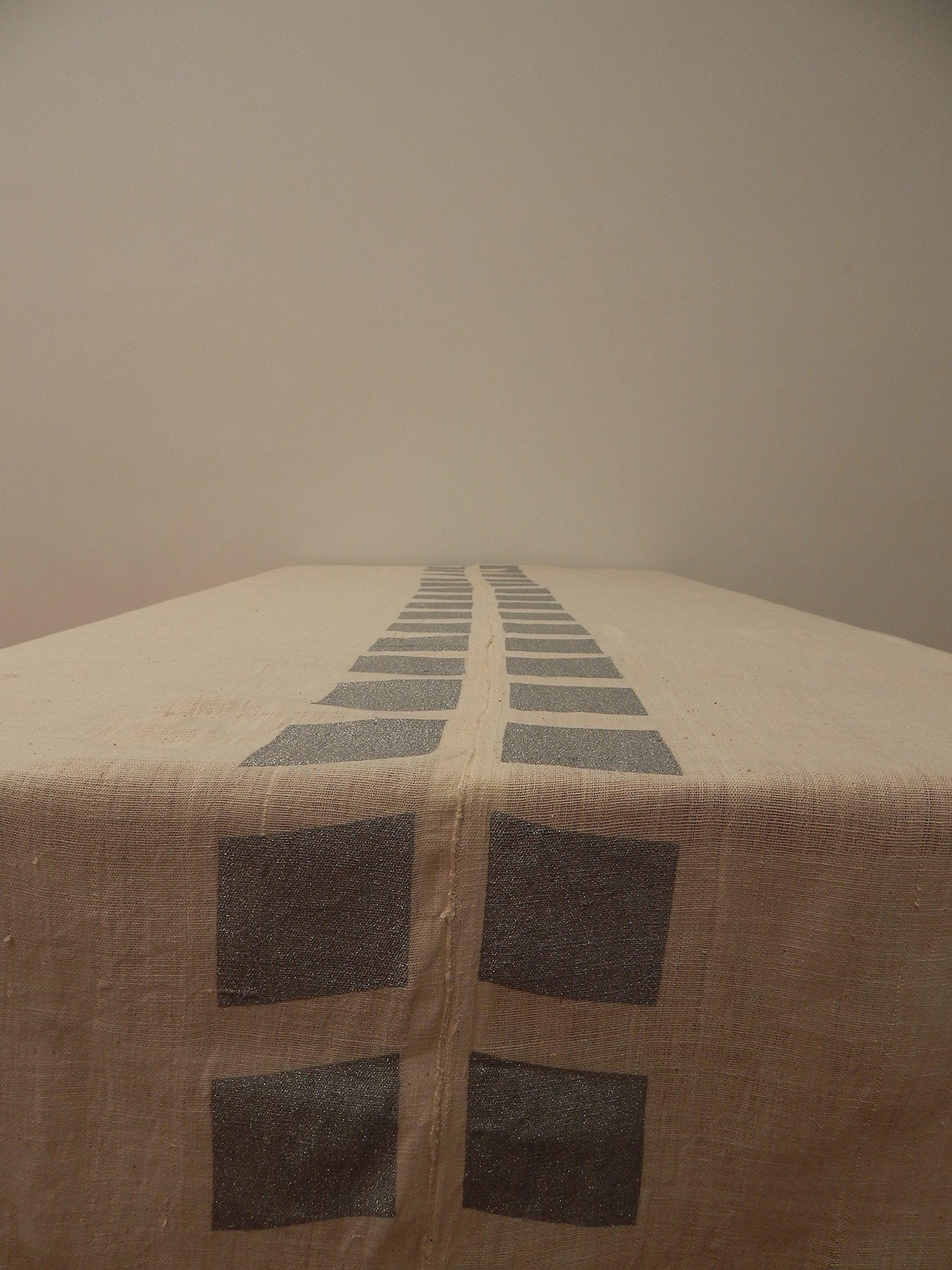 Gitika Goyal Home Cotton Khadi Silver Screen Printed Tablecloth with Square Design, Cream, 72'' x 108''