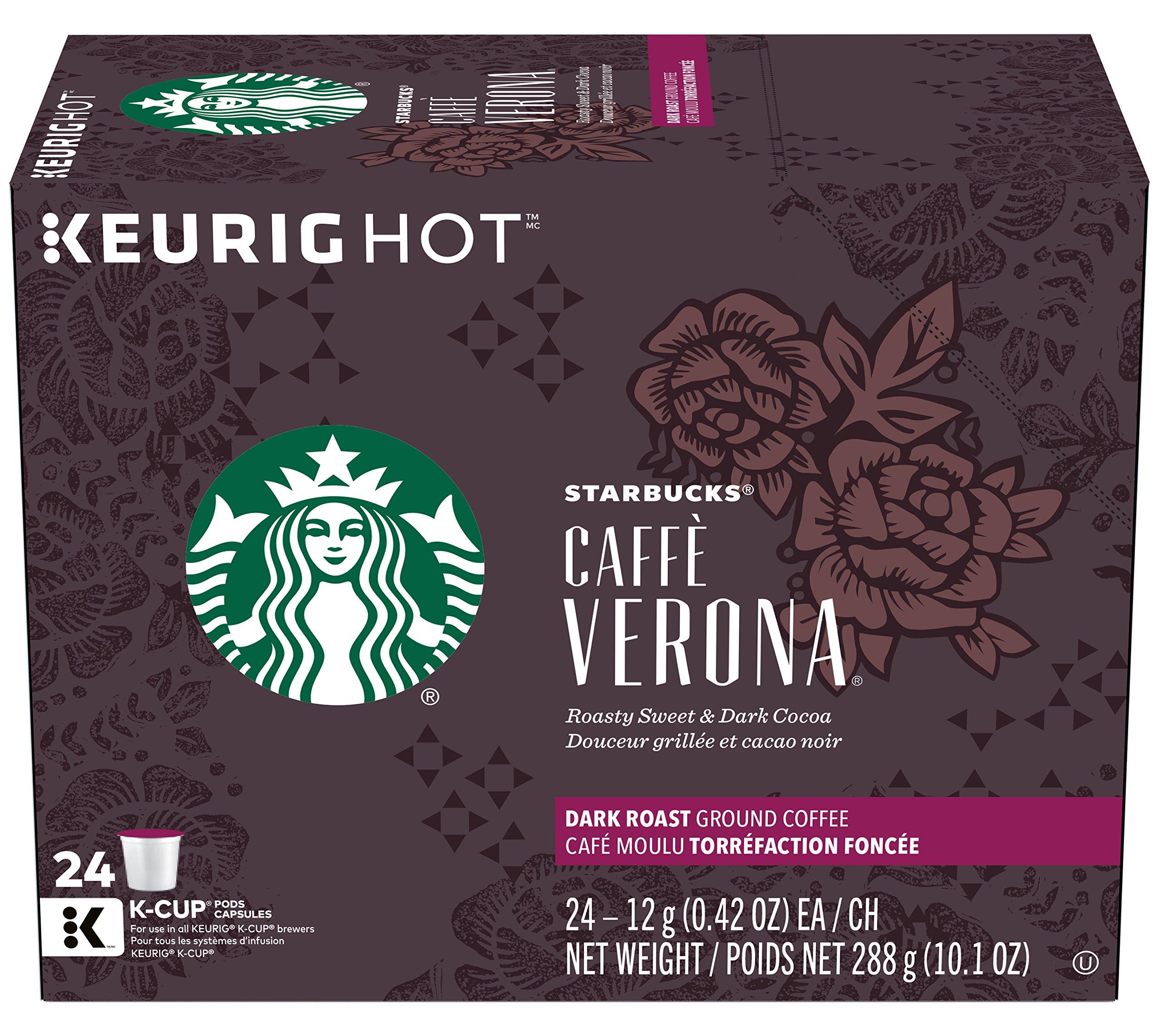 Starbucks Caffè Verona Dark Roast Single Cup Coffee for Keurig Brewers, 1 Box of 24 (24 Total K-Cup pods)