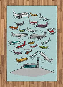 Ambesonne Airplane Area Rug Planes Fying In Air Aviation Love Airport Helicopters And Jets Cartoon Style Print Flat Woven Accent Rug For Living Room Bedroom Dining Room 4 X 5 7 Multicolor