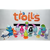 """Dreamworks Trolls Movie Deluxe Party Favors Goody Bag Fillers Set of 17 with Figures and """"Treasure Troll"""" Jewels Featuring Princess Poppy, Branch and Many More!"""
