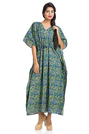 2a34fe58717 HANDICRAFT-PALACE Women Caftan Kaftan Maxi Dress Paisley Indian Hippie  Beach Gown Plus Size Boho