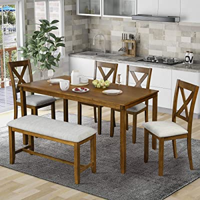 Buy Lumisol 6 Piece Dining Table Set With Bench Wooden Farmhouse Kitchen Table Set With 4 Padded Chairs And Bench Brown Online In Turkey B08smht4mz