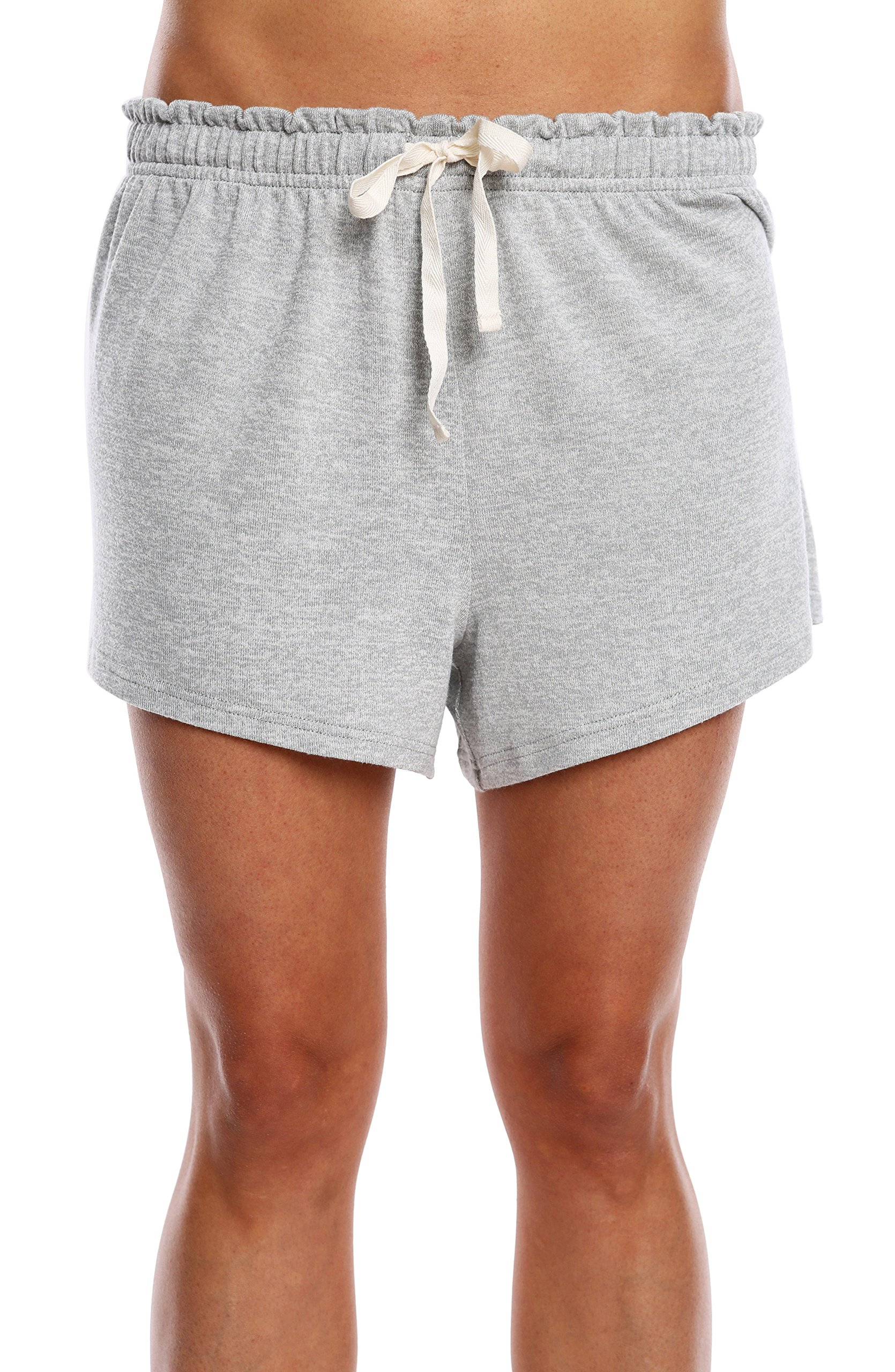 WallFlower Women's Solid Super Soft Hacci Lounge Sleep Short - Heather Grey, Large