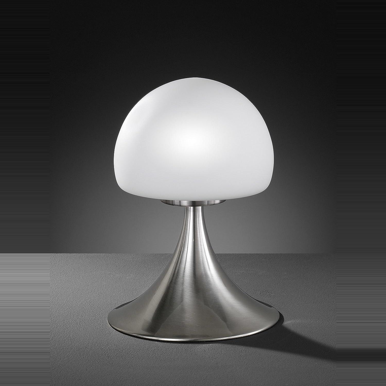 Tischleuchte in Nickel matt 1x G9 bis zu 28 Watt 230V Dimmer Touch Schalter Schlafzimmer Wohnzimmer Lampe Leuchten innen