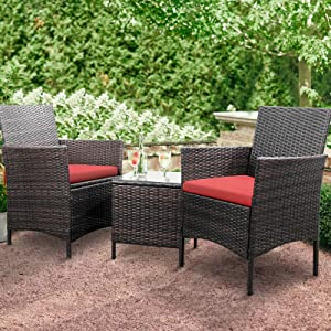 Greesum 3 Pieces Outdoor Patio Furniture Sets, PE Rattan Wicker Chair Conversation Sets with Soft Cushion and Glass Coffee Table for Garden Backyard Porch Poolside, Brown and Red