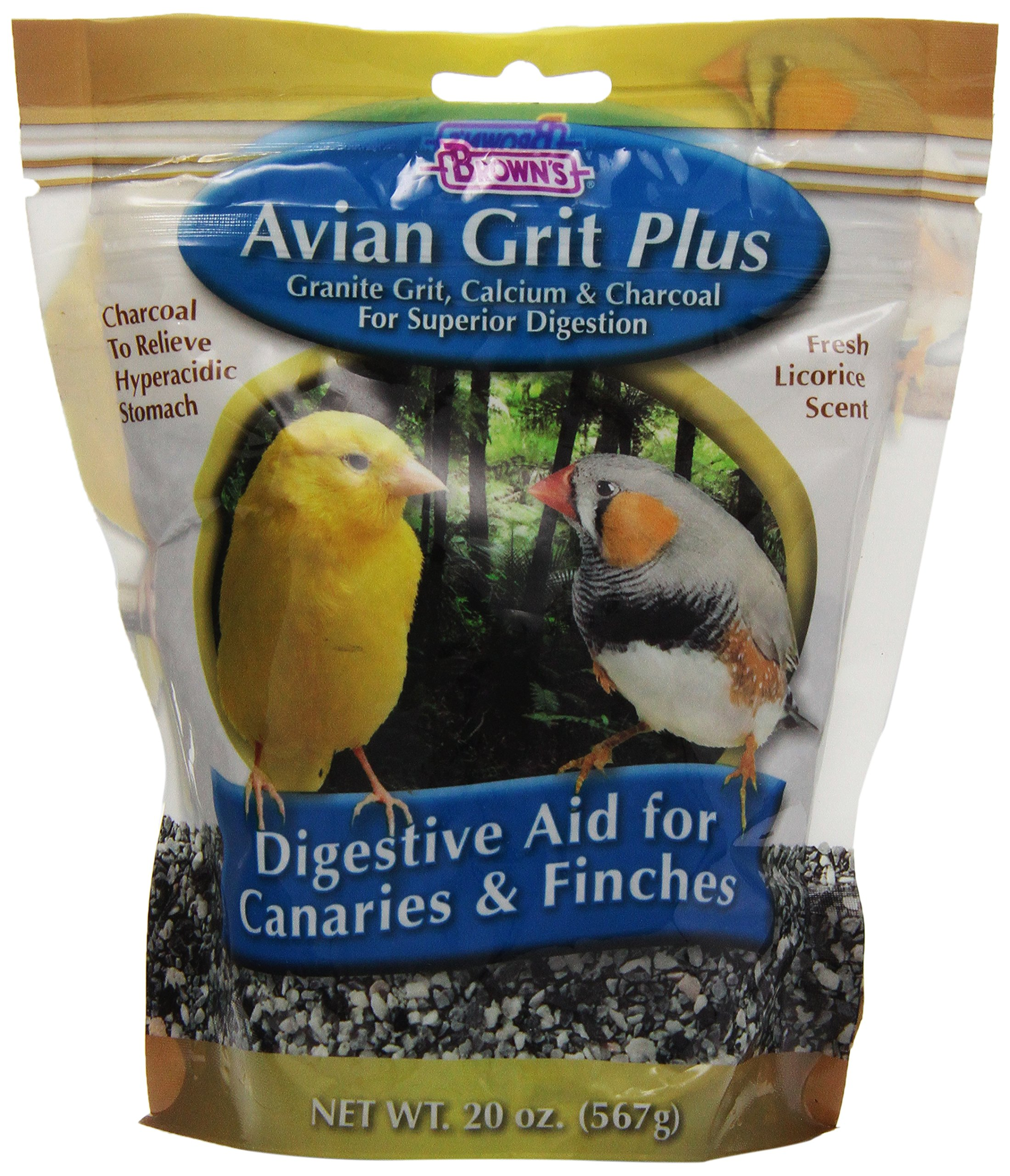 Brown's Avian Grit Plus Digestive Aid for Finches and Canaries with Licorice Scent, 20-Ounce by F.M. Brown's