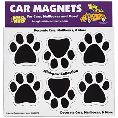 Imagine This 1-3/4-Inch by 1-3/4-Inch 6 Mini Paws Car Magnet, Black: Pet Supplies
