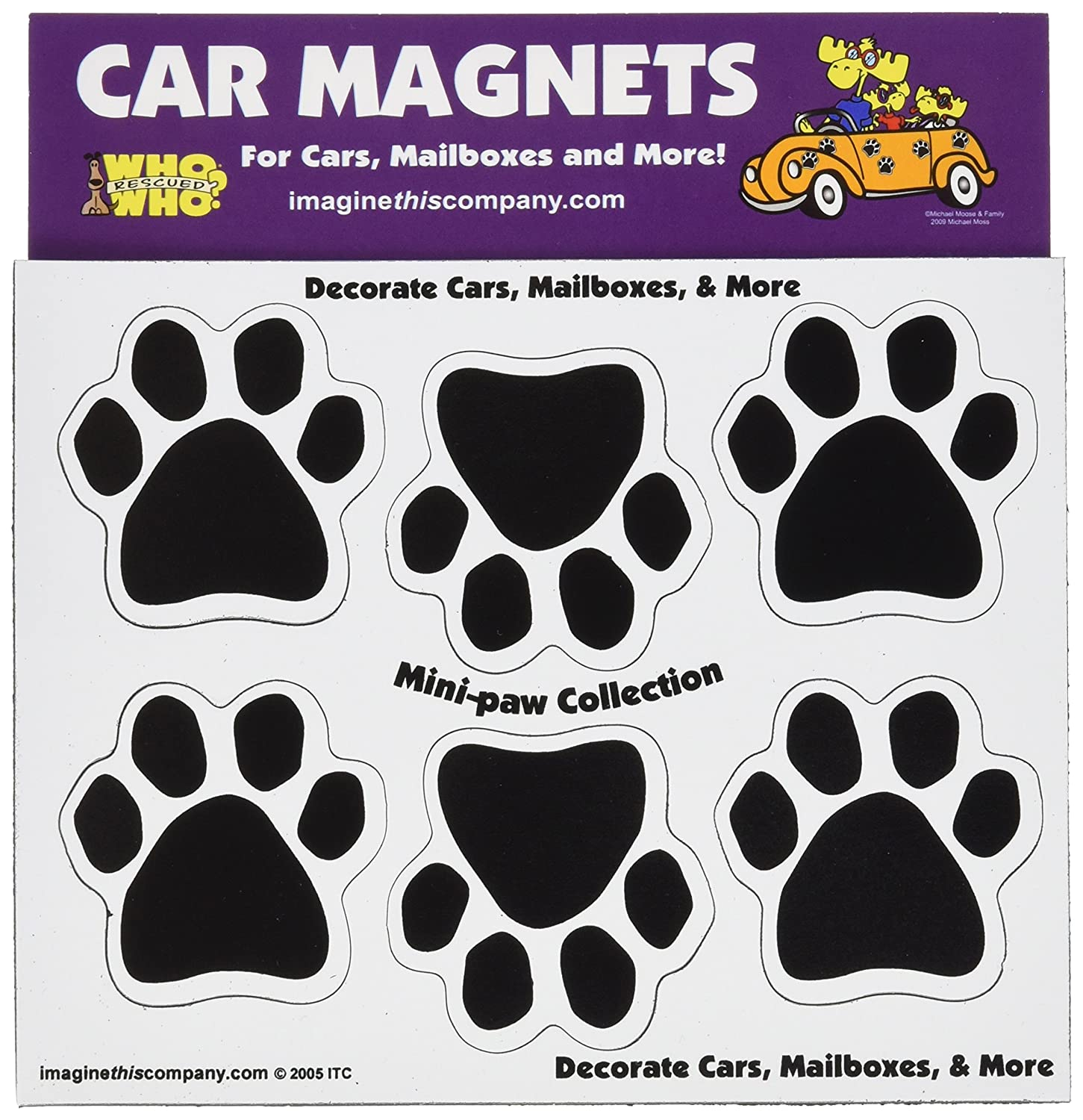 Imagine This 1-3//4-Inch by 1-3//4-Inch 6 Mini Paws Car Magnet Black Imagine This Company N0460