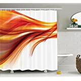 Abstract Shower Curtain by Ambesonne, Modern Contemporary Smooth Lines Blurred Smock Art Flowing Rays Image, Polyester Fabric Bathroom Shower Curtain Set, 75 Inches Long, Dark Red Orange