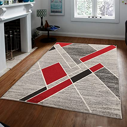 Prestige Decor Area Rugs COSI Collection Beige Area Rug Shag Rug Shaggy  Area Rug Living Room Carpet Kitchen Area Rug Modern Geometric Red Brown  Beige ...