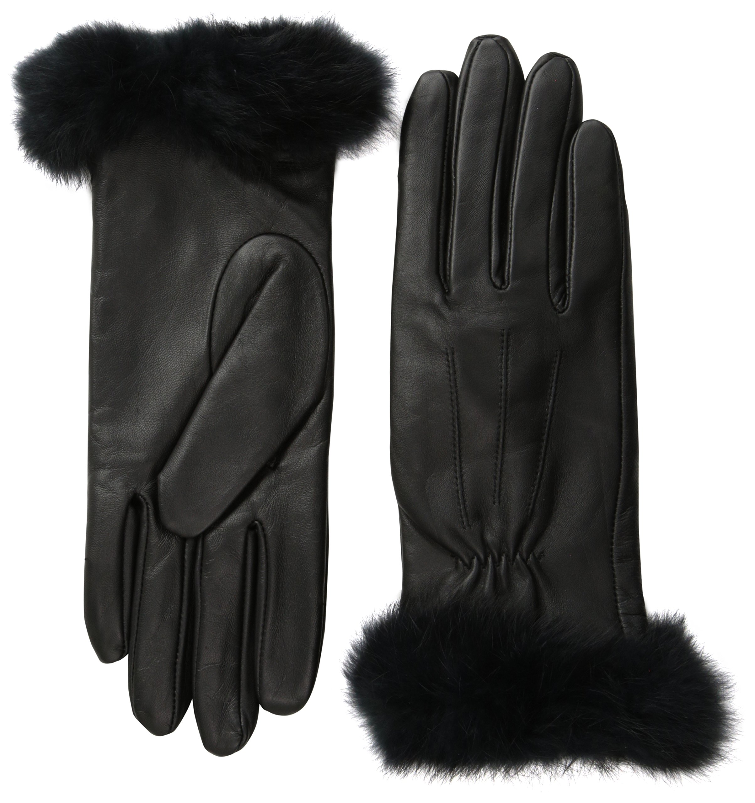 Glove.ly Women's Leather Gloves with Rabbit Fur, Black, Small