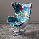 Lillian Arne Jacobsen Inspired Multi-Colored Patch Work Fabric Swivel Egg Chair