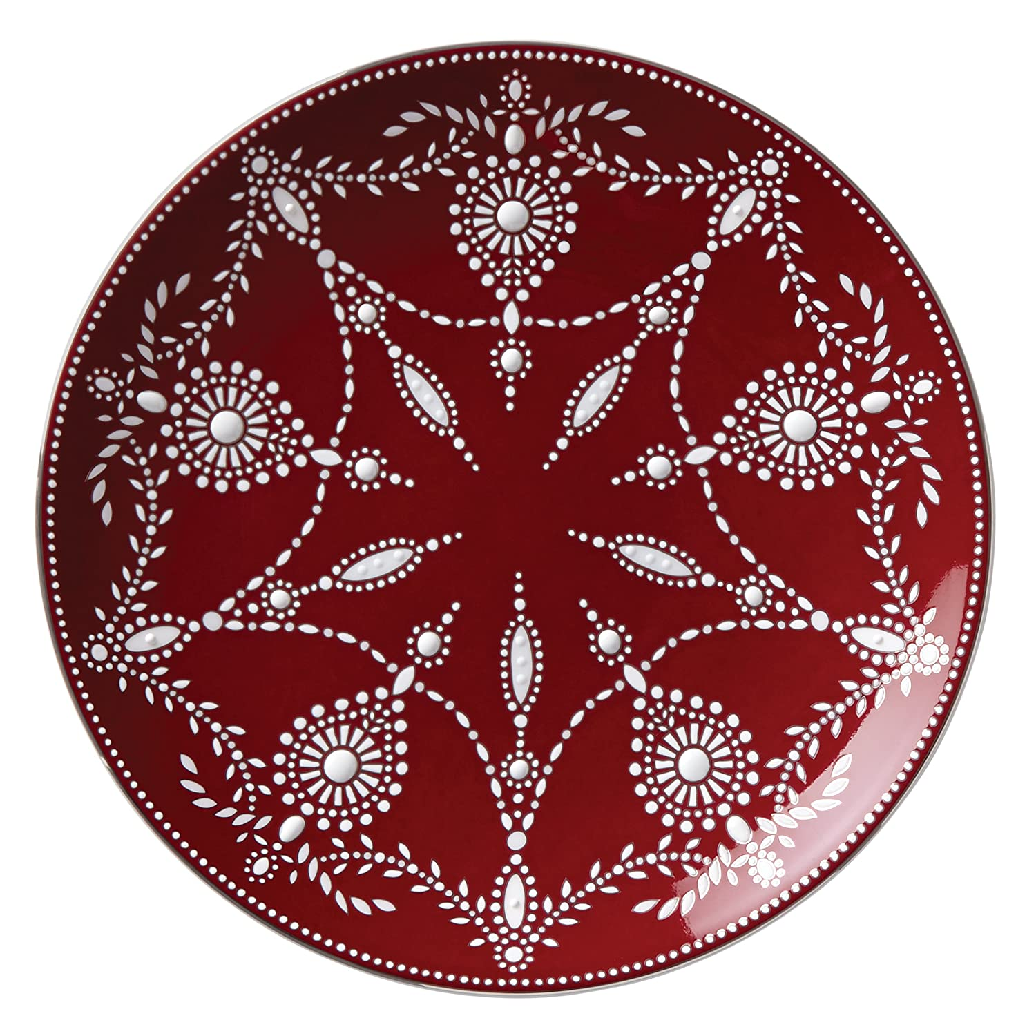Christmas Tablescape Décor - Lenox Wine Red Marchesa Empire Pearl Accent Plate