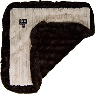 "product image for BESSIE AND BARNIE Natural Beauty/ Godiva Brown (Ruffles) Luxury Ultra Plush Faux Fur Pet, Dog, Cat, Puppy Super Soft Reversible Blanket (Multiple Sizes), MD - 36"" x 28"""