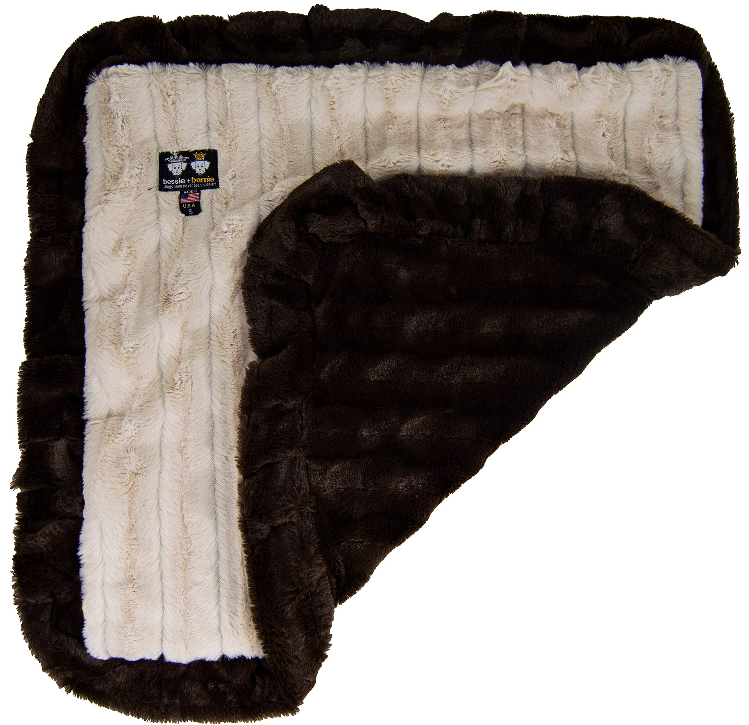 BESSIE AND BARNIE Natural Beauty/Godiva Brown (Ruffles) Luxury Ultra Plush Faux Fur Pet, Dog, Cat, Puppy Super Soft Reversible Blanket (Multiple Sizes)