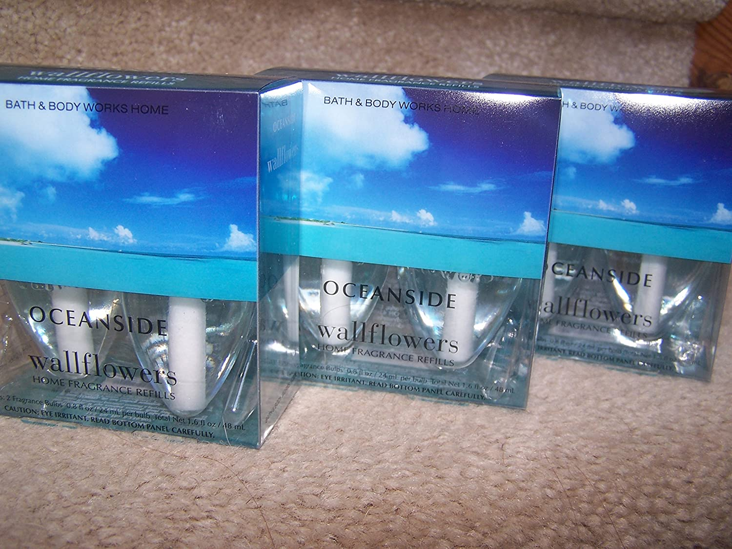 (Scented) - Lot of 3 Bath & Body Works Oceanside Wallflower 2 Bulb Refill Packs (6 Bulbs Total) B00QZNBKZK  香り付き