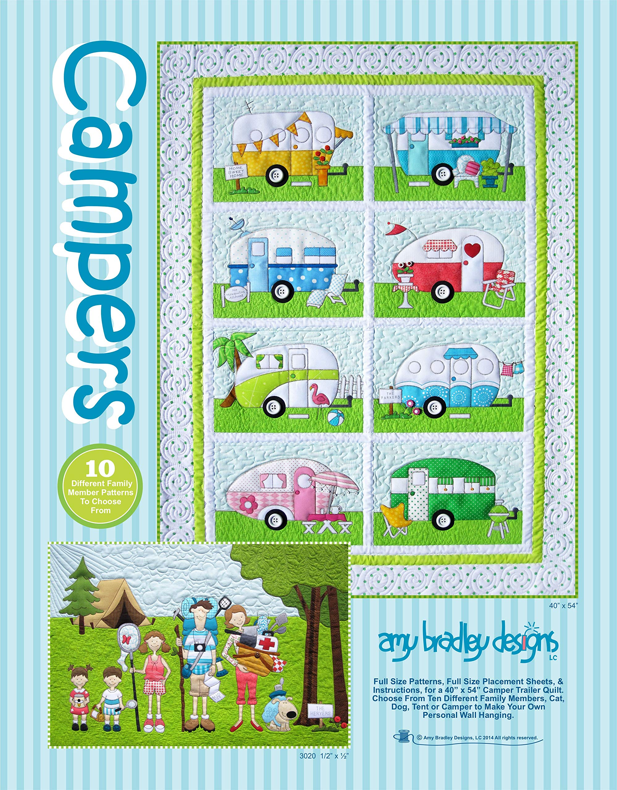 Amy Bradley Designs ABD269 Campers Quilt Pattern, Blue by Amy Bradley Designs