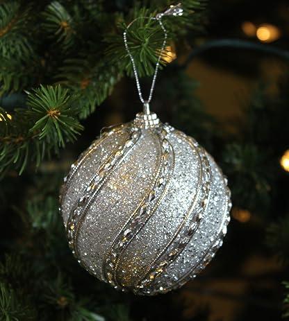 Festive Season Silver Jeweled Shatterproof Christmas Ball Ornaments, Tree  Decorations (Set of 6, - Amazon.com: Festive Season Silver Jeweled Shatterproof Christmas