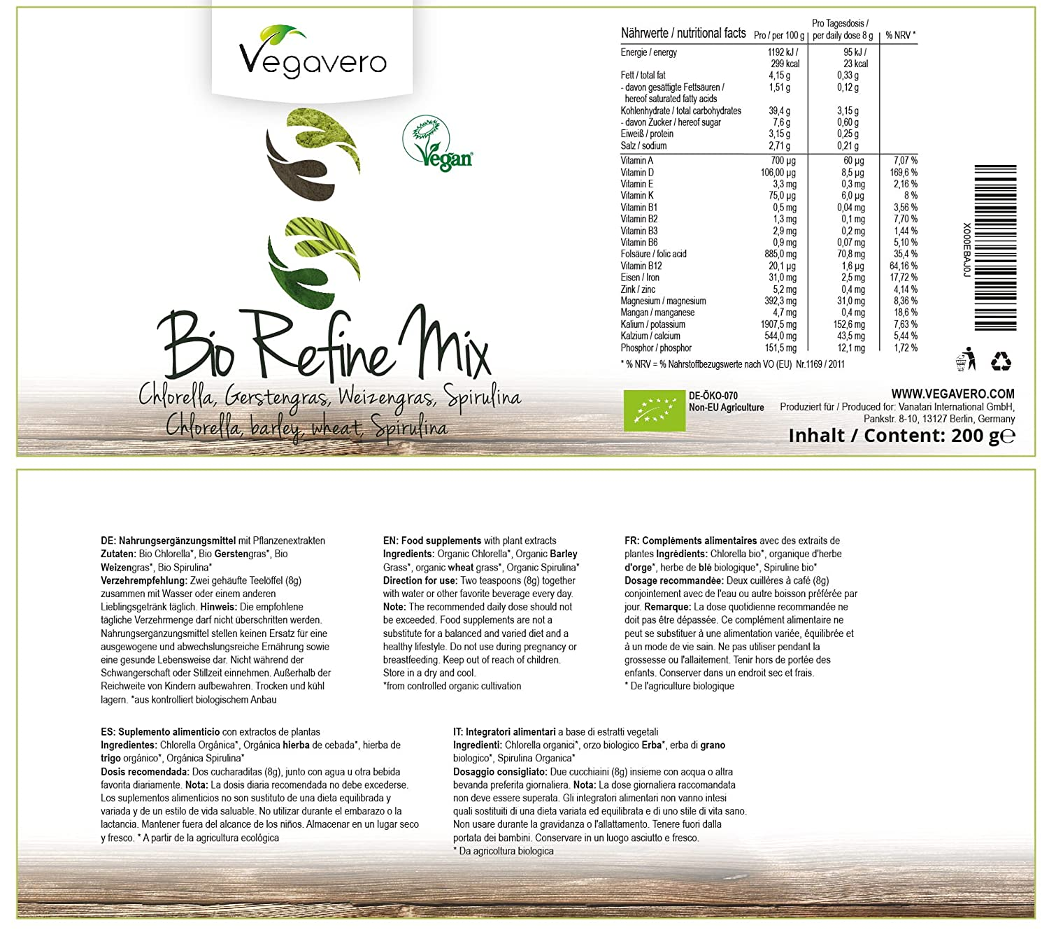 BIO Superfood Refine Mix Vegavero® | 200 g | Espirulina ...