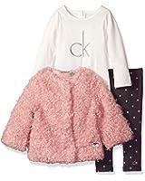 Calvin Klein Baby Girls' 3 Piece Faux Fur Jacket Set