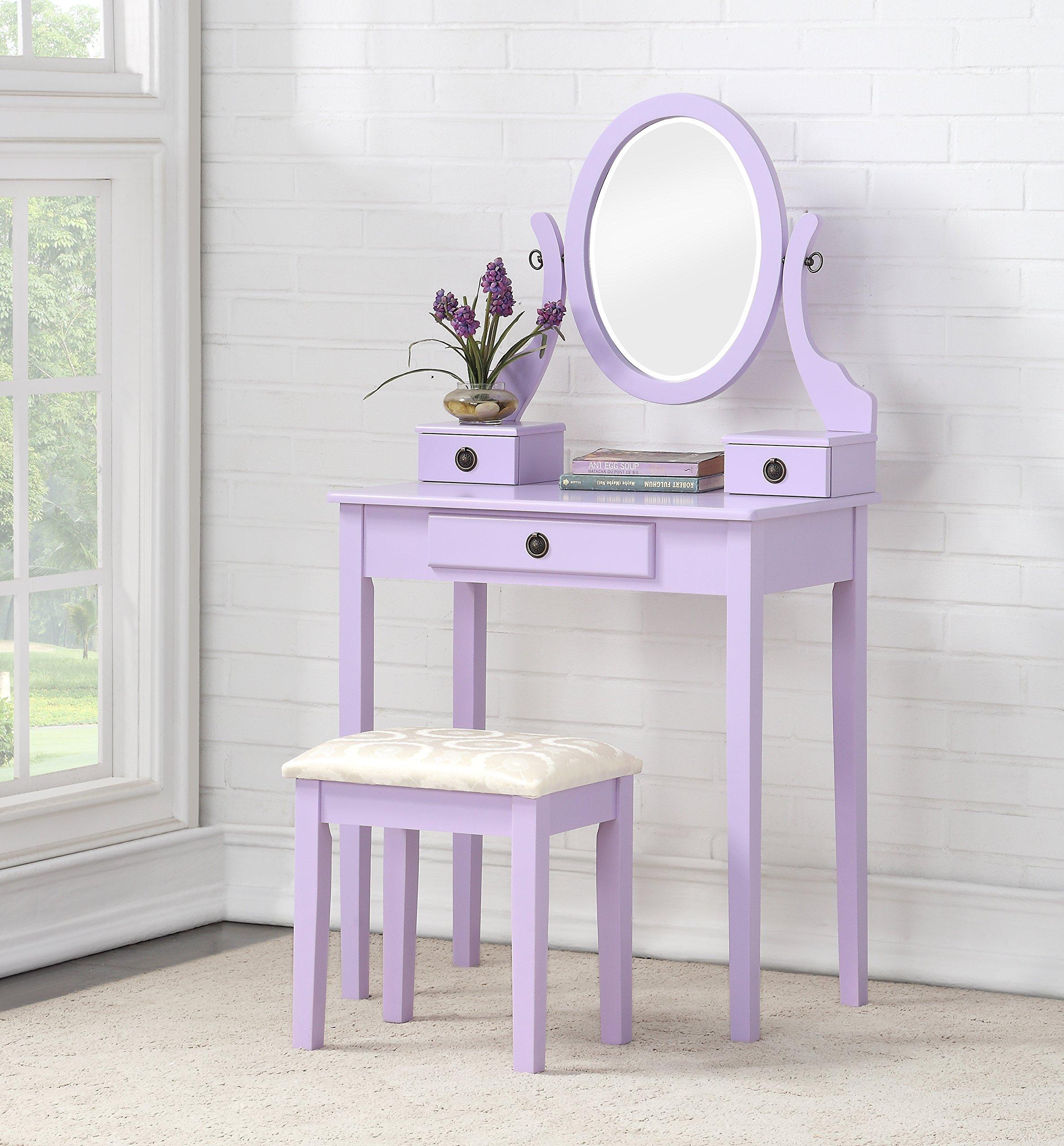 Roundhill Furniture 3415PL Moniys Wood Moniya Makeup Vanity Table and Stool Set, Purple