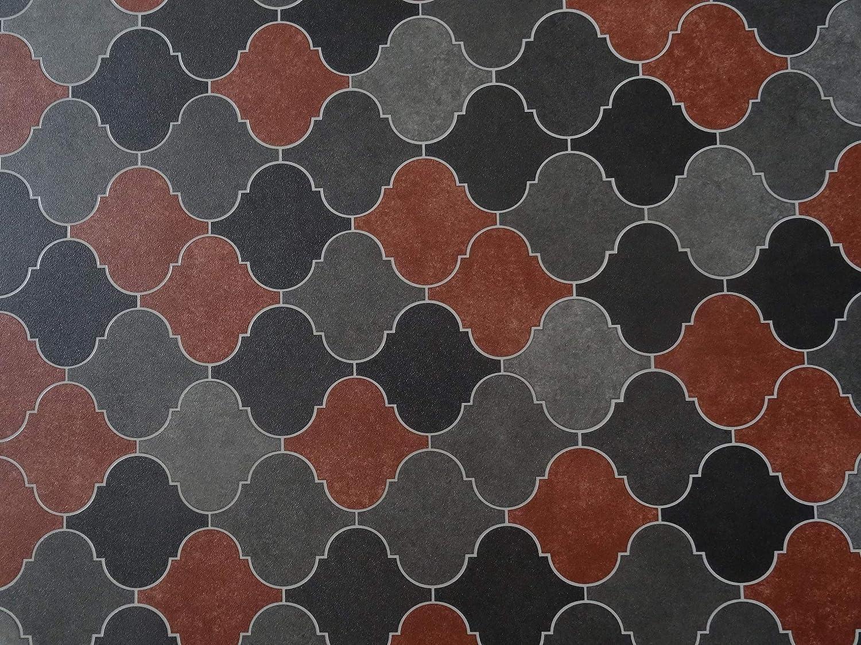 kleines Muster 6,95/€//m/² PVC Bodenbelag in orientalischem Design rot