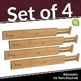 Bamboo Wooden Drawer Divider, Set of 4 | Adjustable Organizers & Dividers | Eco Friendly | Expandable & Spring Loaded | Works in Kitchen, Dresser, Bathroom, Bedroom, Desk, Baby