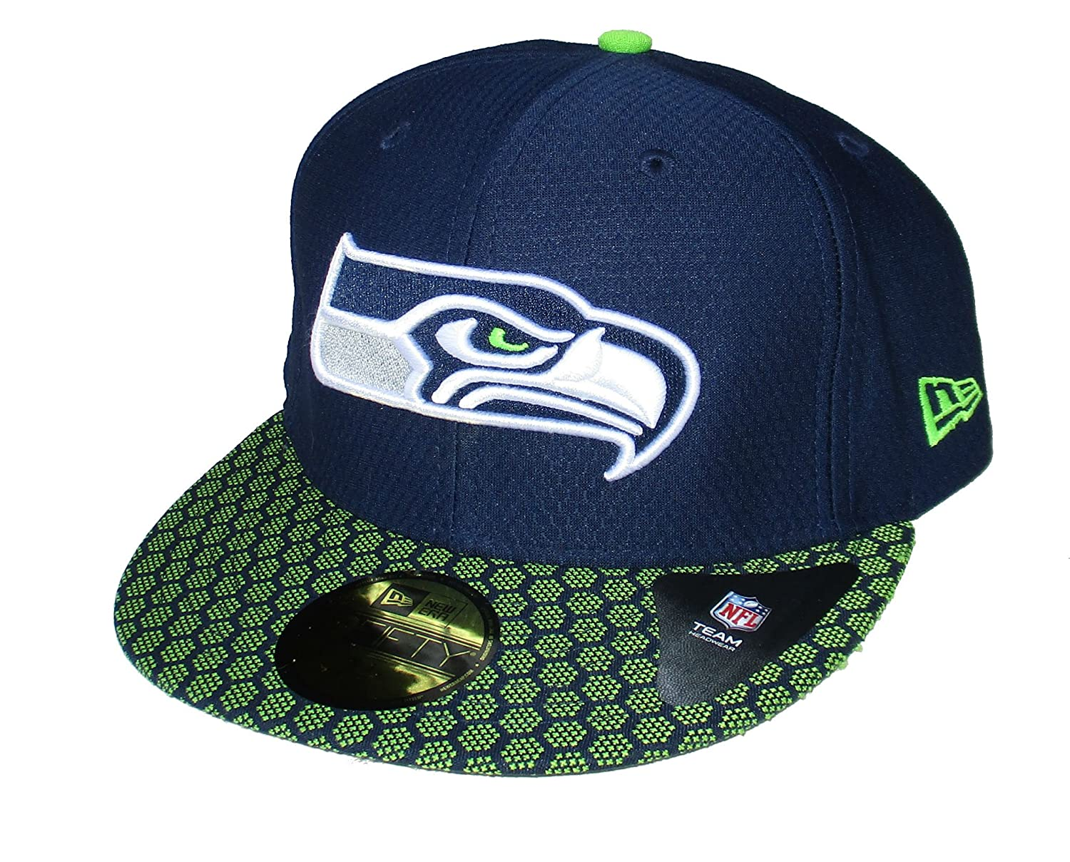 huge discount 4bc6c 04fe7 Amazon.com   Seattle Seahawks New Era Fitted Size 7 1 2 Hat Cap - Team  Colors   Sports   Outdoors
